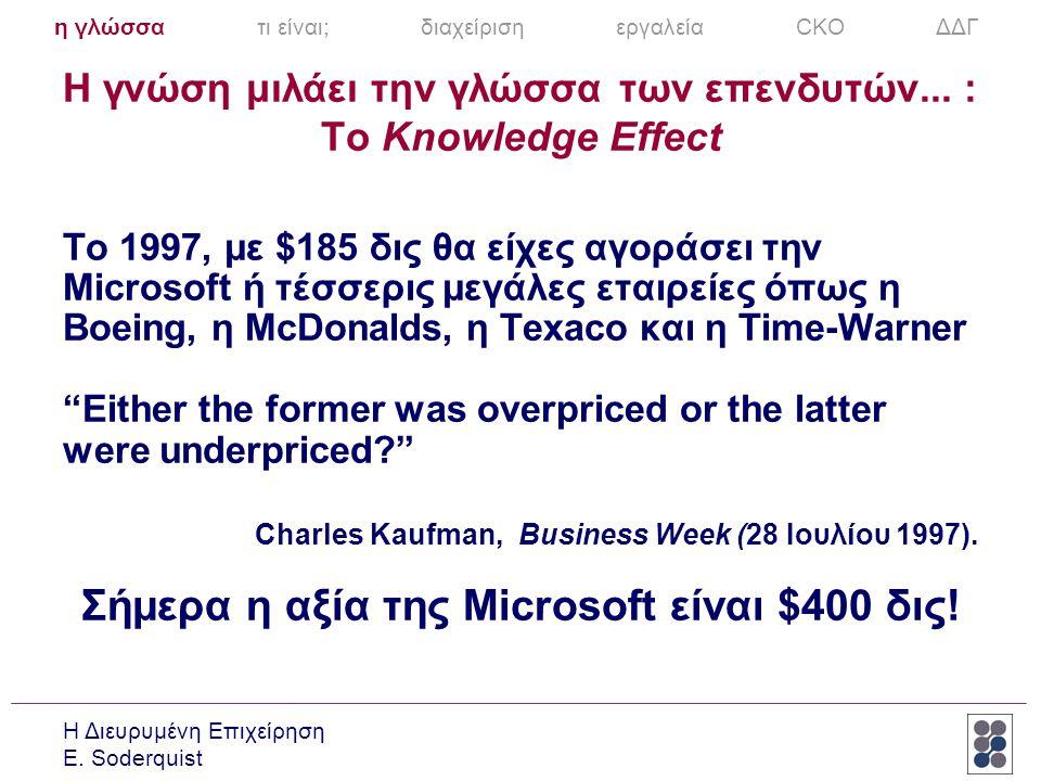Η Διευρυμένη Επιχείρηση E. Soderquist Η γνώση μιλάει την γλώσσα των επενδυτών... : To Knowledge Effect Το 1997, με $185 δις θα είχες αγοράσει την Micr