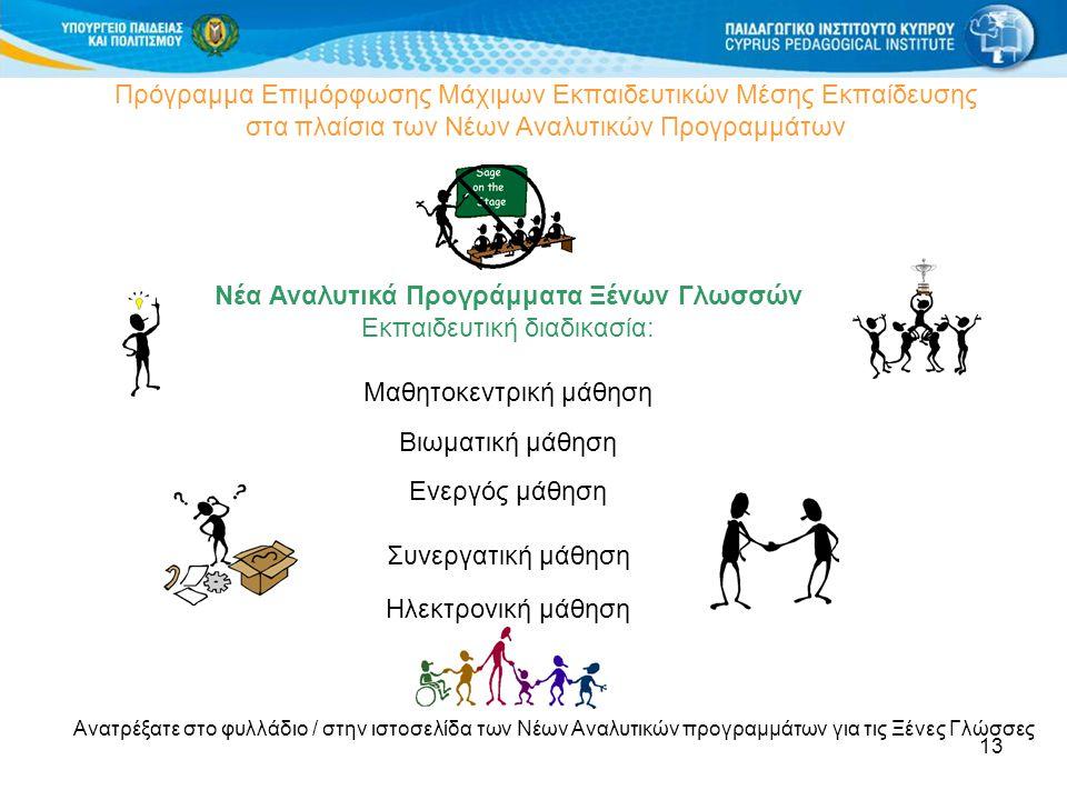 13 Πρόγραμμα Επιμόρφωσης Μάχιμων Εκπαιδευτικών Μέσης Εκπαίδευσης στα πλαίσια των Νέων Αναλυτικών Προγραμμάτων Νέα Αναλυτικά Προγράμματα Ξένων Γλωσσών Εκπαιδευτική διαδικασία: Μαθητοκεντρική μάθηση Βιωματική μάθηση Ενεργός μάθηση Συνεργατική μάθηση Ηλεκτρονική μάθηση Ανατρέξατε στο φυλλάδιο / στην ιστοσελίδα των Νέων Αναλυτικών προγραμμάτων για τις Ξένες Γλώσσες