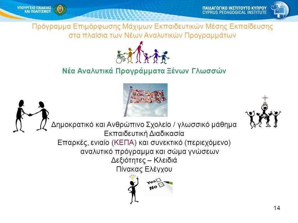 14 Πρόγραμμα Επιμόρφωσης Μάχιμων Εκπαιδευτικών Μέσης Εκπαίδευσης στα πλαίσια των Νέων Αναλυτικών Προγραμμάτων Νέα Αναλυτικά Προγράμματα Ξένων Γλωσσών Δημοκρατικό και Ανθρώπινο Σχολείο / γλωσσικό μάθημα Εκπαιδευτική Διαδικασία Επαρκές, ενιαίο (ΚΕΠΑ) και συνεκτικό (περιεχόμενο) αναλυτικό πρόγραμμα και σώμα γνώσεων Δεξιότητες – Κλειδιά Πίνακας Ελέγχου