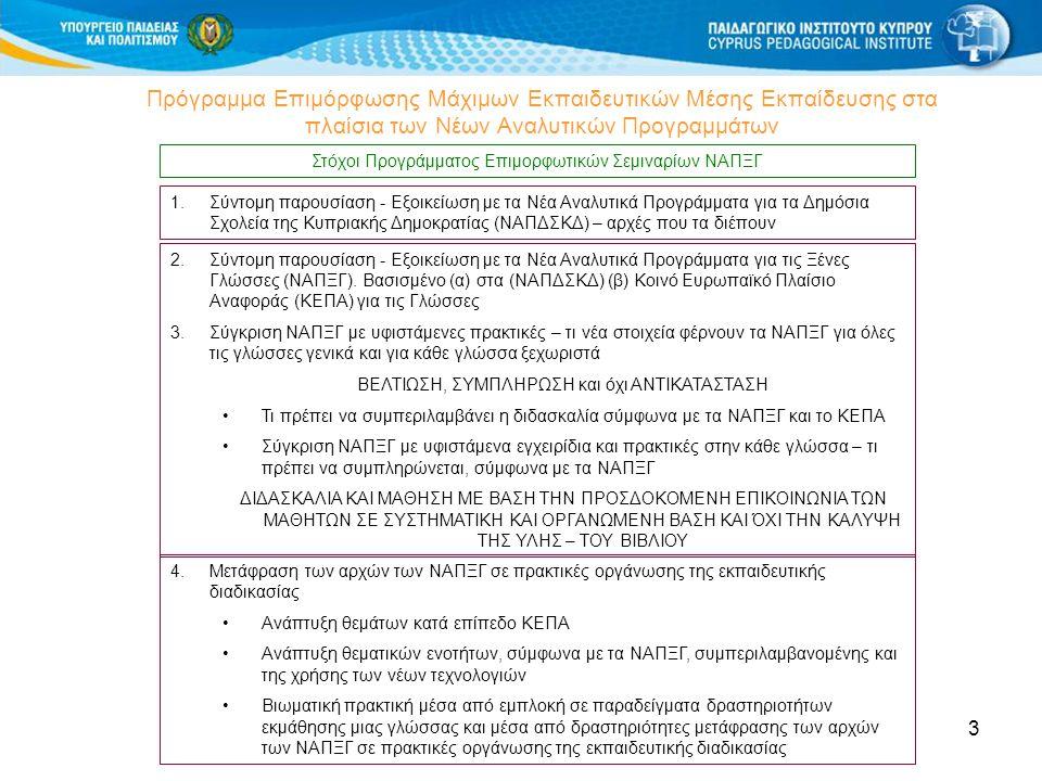 3 Πρόγραμμα Επιμόρφωσης Μάχιμων Εκπαιδευτικών Μέσης Εκπαίδευσης στα πλαίσια των Νέων Αναλυτικών Προγραμμάτων Στόχοι Προγράμματος Επιμορφωτικών Σεμιναρίων ΝΑΠΞΓ 4.Μετάφραση των αρχών των ΝΑΠΞΓ σε πρακτικές οργάνωσης της εκπαιδευτικής διαδικασίας •Ανάπτυξη θεμάτων κατά επίπεδο ΚΕΠΑ •Ανάπτυξη θεματικών ενοτήτων, σύμφωνα με τα ΝΑΠΞΓ, συμπεριλαμβανομένης και της χρήσης των νέων τεχνολογιών •Βιωματική πρακτική μέσα από εμπλοκή σε παραδείγματα δραστηριοτήτων εκμάθησης μιας γλώσσας και μέσα από δραστηριότητες μετάφρασης των αρχών των ΝΑΠΞΓ σε πρακτικές οργάνωσης της εκπαιδευτικής διαδικασίας 2.Σύντομη παρουσίαση - Εξοικείωση με τα Νέα Αναλυτικά Προγράμματα για τις Ξένες Γλώσσες (ΝΑΠΞΓ).