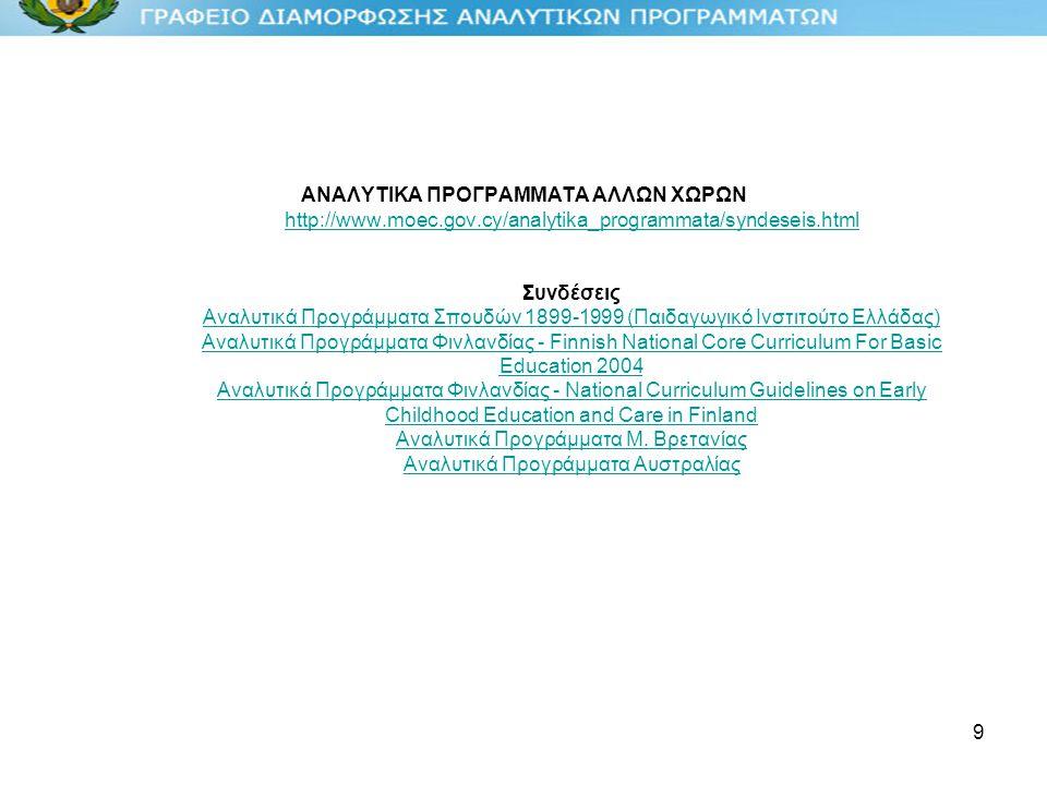 9 ΑΝΑΛΥΤΙΚΑ ΠΡΟΓΡΑΜΜΑΤΑ ΑΛΛΩΝ ΧΩΡΩΝ http://www.moec.gov.cy/analytika_programmata/syndeseis.html Συνδέσεις Αναλυτικά Προγράμματα Σπουδών 1899-1999 (Παιδαγωγικό Ινστιτούτο Ελλάδας) Αναλυτικά Προγράμματα Φινλανδίας - Finnish National Core Curriculum For Basic Education 2004 Αναλυτικά Προγράμματα Φινλανδίας - National Curriculum Guidelines on Early Childhood Education and Care in Finland Αναλυτικά Προγράμματα Μ.