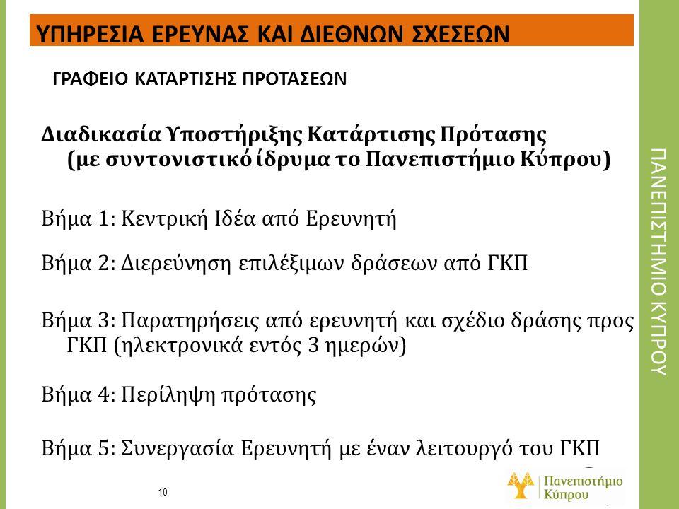 Διαδικασία Υποστήριξης Κατάρτισης Πρότασης (με συντονιστικό ίδρυμα το Πανεπιστήμιο Κύπρου) Βήμα 1: Κεντρική Ιδέα από Ερευνητή Βήμα 2: Διερεύνηση επιλέ