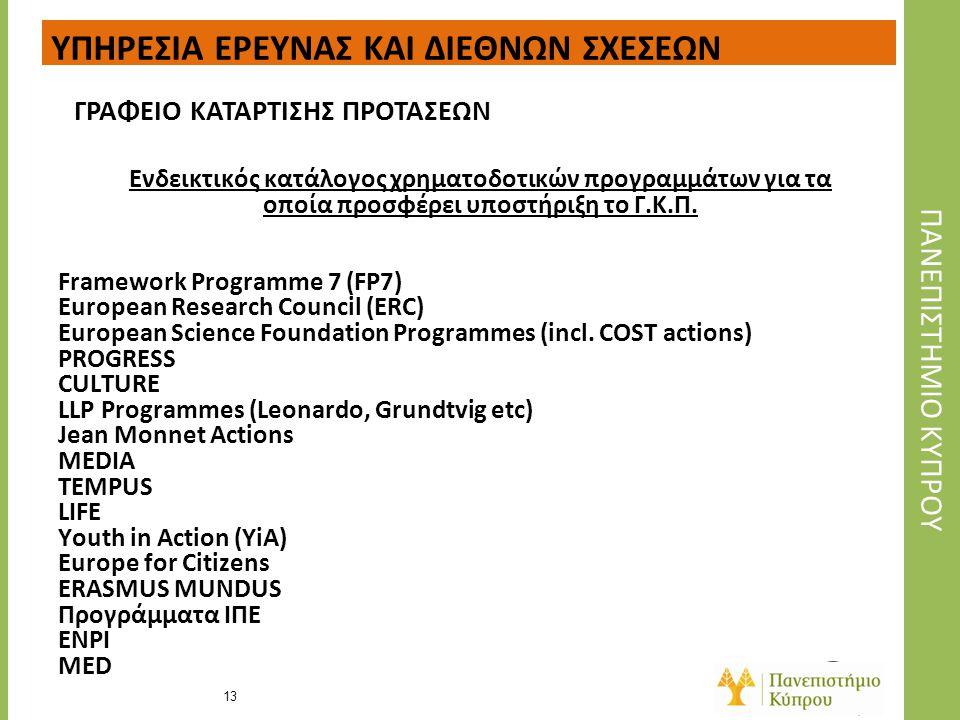 Ενδεικτικός κατάλογος χρηματοδοτικών προγραμμάτων για τα οποία προσφέρει υποστήριξη το Γ.Κ.Π. Framework Programme 7 (FP7) European Research Council (E