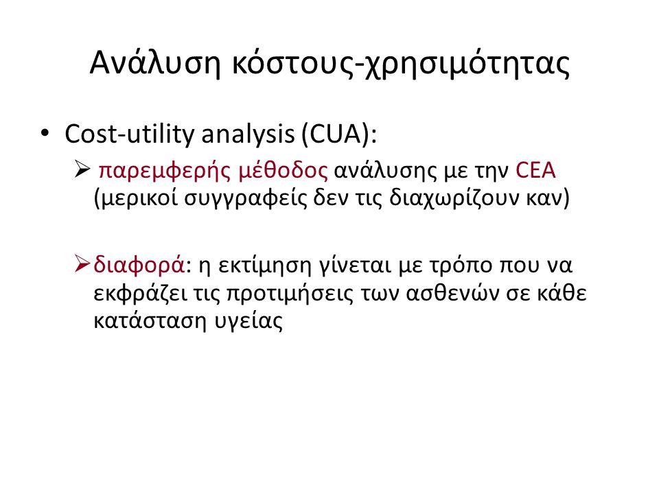 Ανάλυση κόστους-χρησιμότητας • Cost-utility analysis (CUA):  παρεμφερής μέθοδος ανάλυσης με την CEA (μερικοί συγγραφείς δεν τις διαχωρίζουν καν)  διαφορά: η εκτίμηση γίνεται με τρόπο που να εκφράζει τις προτιμήσεις των ασθενών σε κάθε κατάσταση υγείας