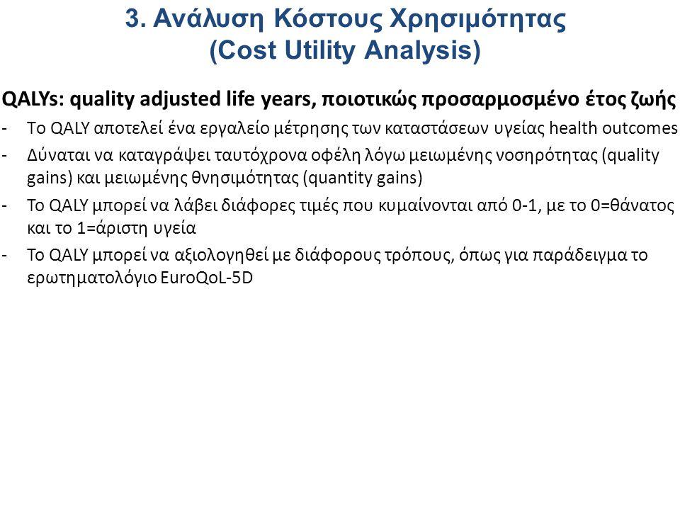 QALYs: quality adjusted life years, ποιοτικώς προσαρμοσμένο έτος ζωής -Tο QALY αποτελεί ένα εργαλείο μέτρησης των καταστάσεων υγείας health outcomes -Δύναται να καταγράψει ταυτόχρονα οφέλη λόγω μειωμένης νοσηρότητας (quality gains) και μειωμένης θνησιμότητας (quantity gains) -Το QALY μπορεί να λάβει διάφορες τιμές που κυμαίνονται από 0-1, με το 0=θάνατος και το 1=άριστη υγεία -Το QALY μπορεί να αξιολογηθεί με διάφορους τρόπους, όπως για παράδειγμα το ερωτηματολόγιο EuroQoL-5D 3.