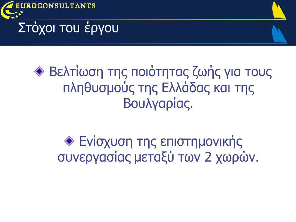 Στόχοι του έργου Βελτίωση της ποιότητας ζωής για τους πληθυσμούς της Ελλάδας και της Βουλγαρίας.