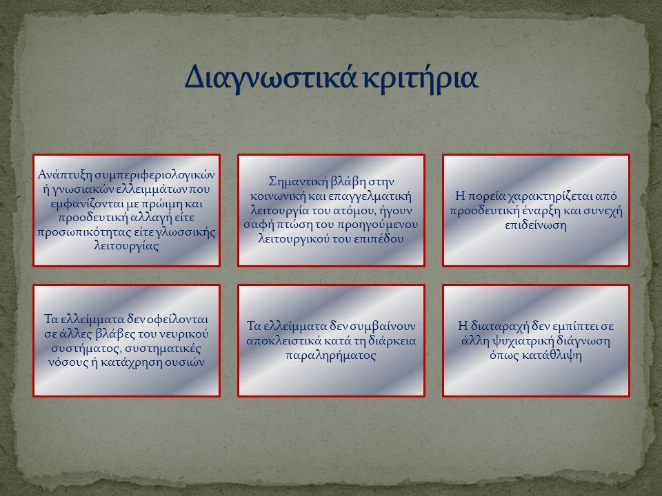 Ανάπτυξη συμπεριφεριολογικών ή γνωσιακών ελλειμμάτων που εμφανίζονται με πρώιμη και προοδευτική αλλαγή είτε προσωπικότητας είτε γλωσσικής λειτουργίας Σημαντική βλάβη στην κοινωνική και επαγγελματική λειτουργία του ατόμου, ήγουν σαφή πτώση του προηγούμενου λειτουργικού του επιπέδου Η πορεία χαρακτηρίζεται από προοδευτική έναρξη και συνεχή επιδείνωση Τα ελλείμματα δεν οφείλονται σε άλλες βλάβες του νευρικού συστήματος, συστηματικές νόσους ή κατάχρηση ουσιών Τα ελλείμματα δεν συμβαίνουν αποκλειστικά κατά τη διάρκεια παραληρήματος Η διαταραχή δεν εμπίπτει σε άλλη ψυχιατρική διάγνωση όπως κατάθλιψη
