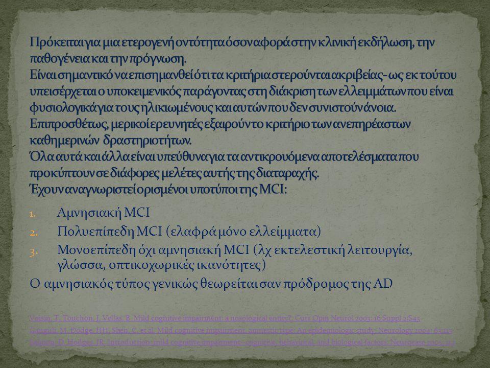 1.Αμνησιακή MCI 2. Πολυεπίπεδη MCI (ελαφρά μόνο ελλείμματα) 3.
