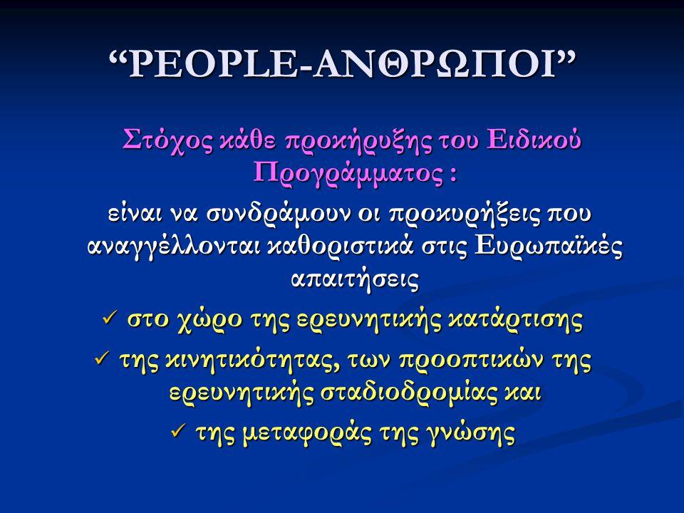 PEOPLE-ΑΝΘΡΩΠΟΙ Στόχος κάθε προκήρυξης του Ειδικού Προγράμματος : Στόχος κάθε προκήρυξης του Ειδικού Προγράμματος : είναι να συνδράμουν οι προκυρήξεις που αναγγέλλονται καθοριστικά στις Ευρωπαϊκές απαιτήσεις είναι να συνδράμουν οι προκυρήξεις που αναγγέλλονται καθοριστικά στις Ευρωπαϊκές απαιτήσεις  στο χώρο της ερευνητικής κατάρτισης  της κινητικότητας, των προοπτικών της ερευνητικής σταδιοδρομίας και  της μεταφοράς της γνώσης