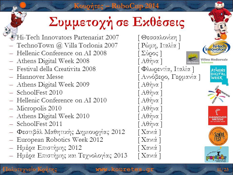 Κουρήτες – RoboCup 2014 Πολυτεχνείο Κρήτης www.kouretes.gr 11/23 –Hi-Tech Innovators Partenariat 2007[ Θεσσαλονίκη ] –TechnoTown @ Villa Torlonia 2007[ Ρώμη, Ιταλία ] –Hellenic Conference on AI 2008[ Σύρος ] –Athens Digital Week 2008[ Αθήνα ] –Festival della Creativita 2008[ Φλωρεντία, Ιταλία ] –Hannover Messe[ Αννόβερο, Γερμανία ] –Athens Digital Week 2009[ Αθήνα ] –SchoolFest 2010[ Αθήνα ] –Hellenic Conference on AI 2010[ Αθήνα ] –Micropolis 2010[ Αθήνα ] –Athens Digital Week 2010[ Αθήνα ] –SchoolFest 2011[ Αθήνα ] –Φεστιβάλ Μαθητικής Δημιουργίας 2012 [ Χανιά ] –European Robotics Week 2012[ Χανιά ] –Ημέρα Επιστήμης 2012[ Χανιά ] –Ημέρα Επιστήμης και Τεχνολογίας 2013[ Χανιά ] Συμμετοχή σε Εκθέσεις