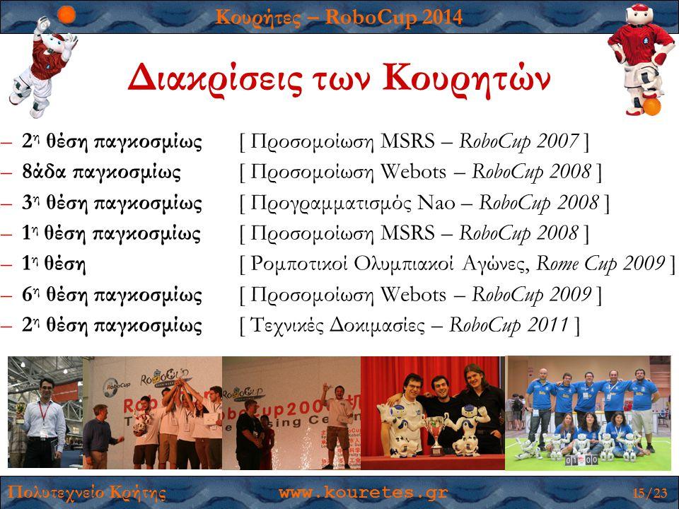 Κουρήτες – RoboCup 2014 Πολυτεχνείο Κρήτης www.kouretes.gr 15/23 Διακρίσεις των Κουρητών –2 η θέση παγκοσμίως [ Προσομοίωση MSRS – RoboCup 2007 ] –8άδ