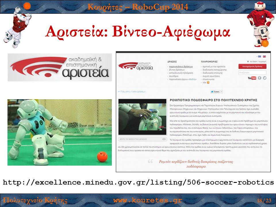 Κουρήτες – RoboCup 2014 Πολυτεχνείο Κρήτης www.kouretes.gr 18/23 Αριστεία: Βίντεο-Αφιέρωμα http://excellence.minedu.gov.gr/listing/506-soccer-robotics