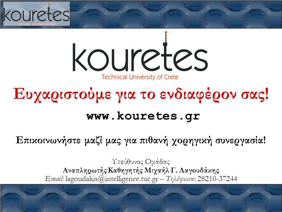 Ευχαριστούμε για το ενδιαφέρον σας! www.kouretes.gr Επικοινωνήστε μαζί μας για πιθανή χορηγική συνεργασία! Υπεύθυνος Ομάδας Αναπληρωτής Καθηγητής Μιχα