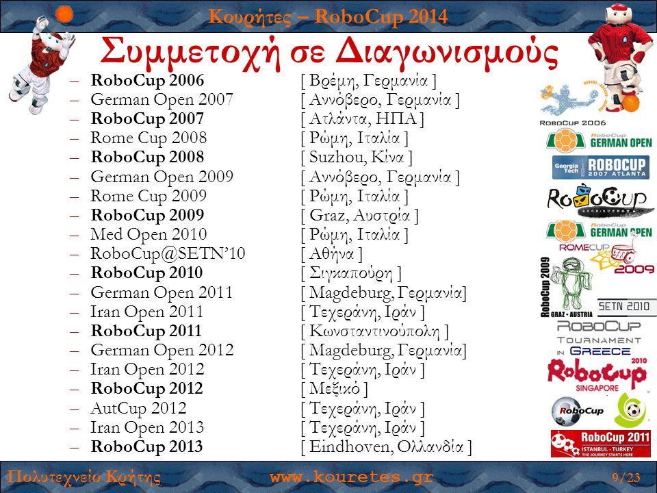 Κουρήτες – RoboCup 2014 Πολυτεχνείο Κρήτης www.kouretes.gr 9/23 –RoboCup 2006 [ Βρέμη, Γερμανία ] –German Open 2007 [ Αννόβερο, Γερμανία ] –RoboCup 2007 [ Ατλάντα, ΗΠΑ ] –Rome Cup 2008[ Ρώμη, Ιταλία ] –RoboCup 2008 [ Suzhou, Κίνα ] –German Open 2009 [ Αννόβερο, Γερμανία ] –Rome Cup 2009[ Ρώμη, Ιταλία ] –RoboCup 2009 [ Graz, Αυστρία ] –Med Open 2010[ Ρώμη, Ιταλία ] –RoboCup@SETN'10[ Αθήνα ] –RoboCup 2010 [ Σιγκαπούρη ] –German Open 2011[ Magdeburg, Γερμανία] –Iran Open 2011[ Τεχεράνη, Ιράν ] –RoboCup 2011[ Κωνσταντινούπολη ] –German Open 2012 [ Magdeburg, Γερμανία] –Iran Open 2012[ Τεχεράνη, Ιράν ] –RoboCup 2012[ Μεξικό ] –AutCup 2012[ Τεχεράνη, Ιράν ] –Iran Open 2013[ Τεχεράνη, Ιράν ] –RoboCup 2013[ Eindhoven, Ολλανδία ] Συμμετοχή σε Διαγωνισμούς