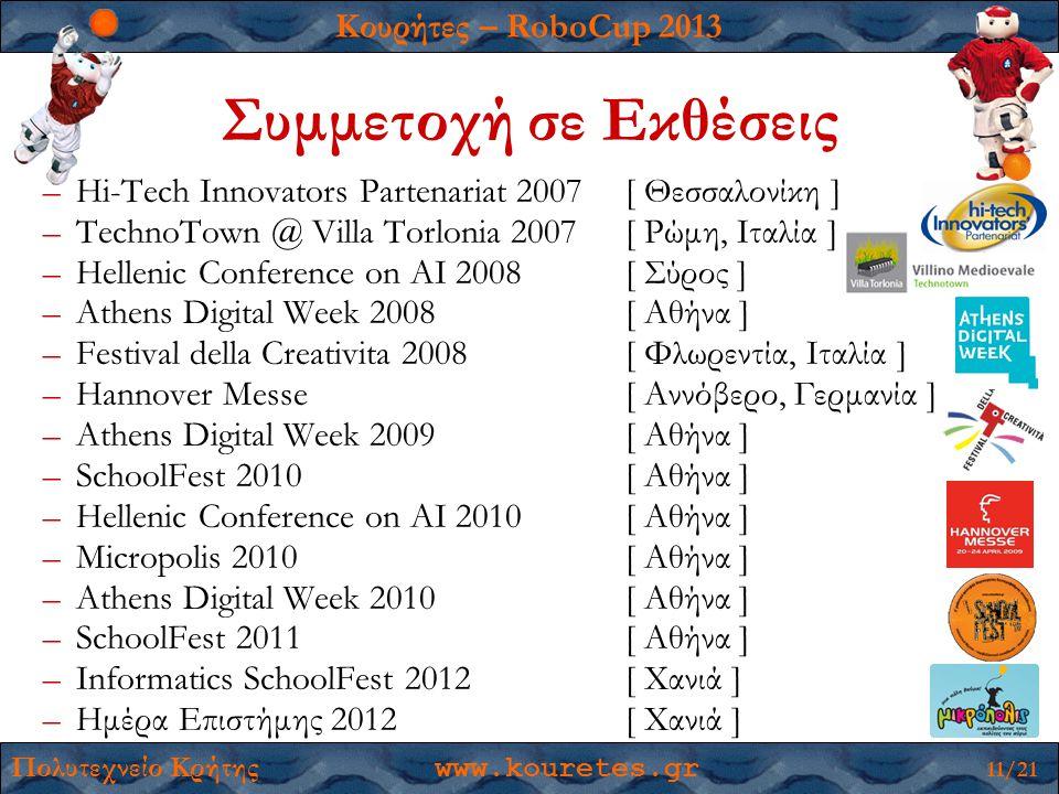 Κουρήτες – RoboCup 2013 Πολυτεχνείο Κρήτης www.kouretes.gr 11/21 –Hi-Tech Innovators Partenariat 2007[ Θεσσαλονίκη ] –TechnoTown @ Villa Torlonia 2007[ Ρώμη, Ιταλία ] –Hellenic Conference on AI 2008[ Σύρος ] –Athens Digital Week 2008[ Αθήνα ] –Festival della Creativita 2008[ Φλωρεντία, Ιταλία ] –Hannover Messe[ Αννόβερο, Γερμανία ] –Athens Digital Week 2009[ Αθήνα ] –SchoolFest 2010[ Αθήνα ] –Hellenic Conference on AI 2010[ Αθήνα ] –Micropolis 2010[ Αθήνα ] –Athens Digital Week 2010[ Αθήνα ] –SchoolFest 2011[ Αθήνα ] –Informatics SchoolFest 2012[ Χανιά ] –Ημέρα Επιστήμης 2012[ Χανιά ] Συμμετοχή σε Εκθέσεις
