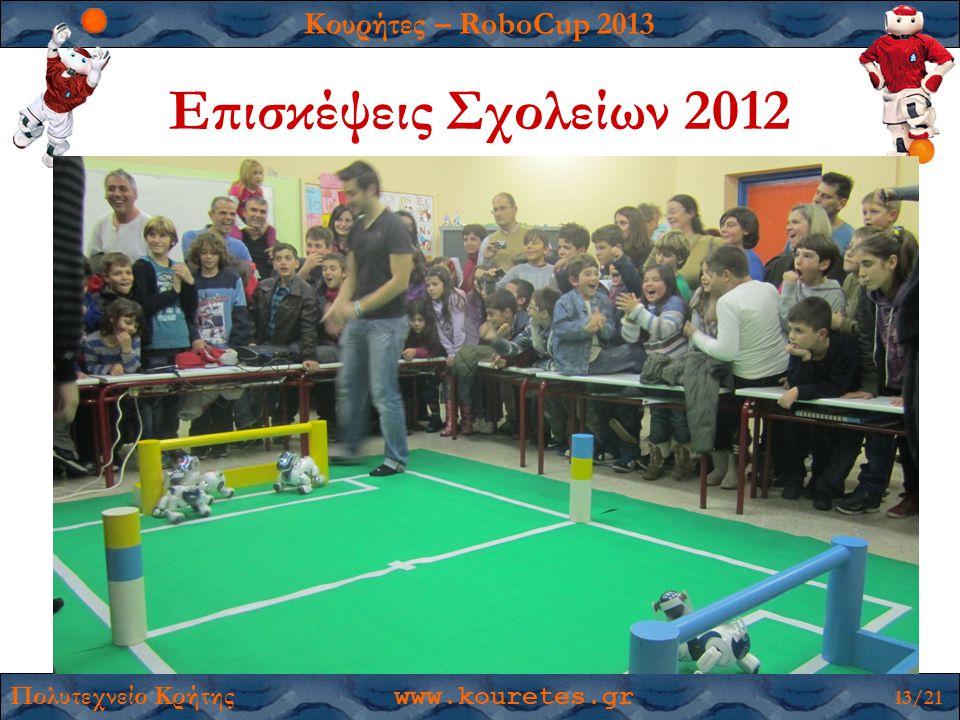 Κουρήτες – RoboCup 2013 Πολυτεχνείο Κρήτης www.kouretes.gr 13/21 Επισκέψεις Σχολείων 2012