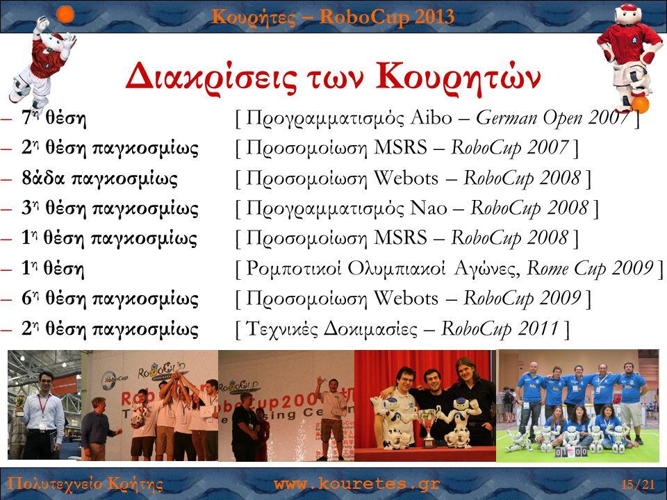 Κουρήτες – RoboCup 2013 Πολυτεχνείο Κρήτης www.kouretes.gr 15/21 Διακρίσεις των Κουρητών –7 η θέση [ Προγραμματισμός Aibo – German Open 2007 ] –2 η θέση παγκοσμίως [ Προσομοίωση MSRS – RoboCup 2007 ] –8άδα παγκοσμίως [ Προσομοίωση Webots – RoboCup 2008 ] –3 η θέση παγκοσμίως [ Προγραμματισμός Nao – RoboCup 2008 ] –1 η θέση παγκοσμίως [ Προσομοίωση MSRS – RoboCup 2008 ] –1 η θέση [ Ρομποτικοί Ολυμπιακοί Αγώνες, Rome Cup 2009 ] –6 η θέση παγκοσμίως [ Προσομοίωση Webots – RoboCup 2009 ] –2 η θέση παγκοσμίως [ Τεχνικές Δοκιμασίες – RoboCup 2011 ]