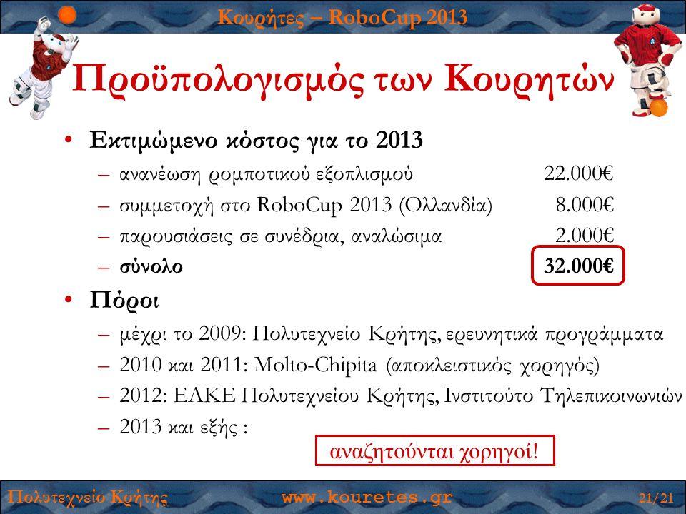 Κουρήτες – RoboCup 2013 Πολυτεχνείο Κρήτης www.kouretes.gr 21/21 Προϋπολογισμός των Κουρητών •Εκτιμώμενο κόστος για το 2013 –ανανέωση ρομποτικού εξοπλισμού 22.000€ –συμμετοχή στο RoboCup 2013 (Ολλανδία) 8.000€ –παρουσιάσεις σε συνέδρια, αναλώσιμα 2.000€ –σύνολο32.000€ •Πόροι –μέχρι το 2009: Πολυτεχνείο Κρήτης, ερευνητικά προγράμματα –2010 και 2011: Molto-Chipita (αποκλειστικός χορηγός) –2012: ΕΛΚΕ Πολυτεχνείου Κρήτης, Ινστιτούτο Τηλεπικοινωνιών –2013 και εξής : αναζητούνται χορηγοί!
