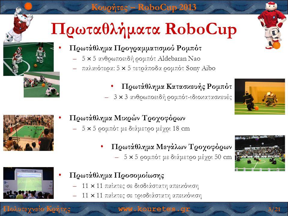 Κουρήτες – RoboCup 2013 Πολυτεχνείο Κρήτης www.kouretes.gr 3/21 Πρωταθλήματα RoboCup •Πρωτάθλημα Προγραμματισμού Ρομπότ –5  5 ανθρωποειδή ρομπότ Aldebaran Νao –παλαιότερα: 5  5 τετράποδα ρομπότ Sony Aibo •Πρωτάθλημα Κατασκευής Ρομπότ –3  3 ανθρωποειδή ρομπότ-ιδιοκατασκευές •Πρωτάθλημα Μικρών Τροχοφόρων –5  5 ρομπότ με διάμετρο μέχρι 18 cm •Πρωτάθλημα Μεγάλων Τροχοφόρων –5  5 ρομπότ με διάμετρο μέχρι 50 cm •Πρωτάθλημα Προσομοίωσης –11  11 παίκτες σε δισδιάστατη απεικόνιση –11  11 παίκτες σε τρισδιάστατη απεικόνιση