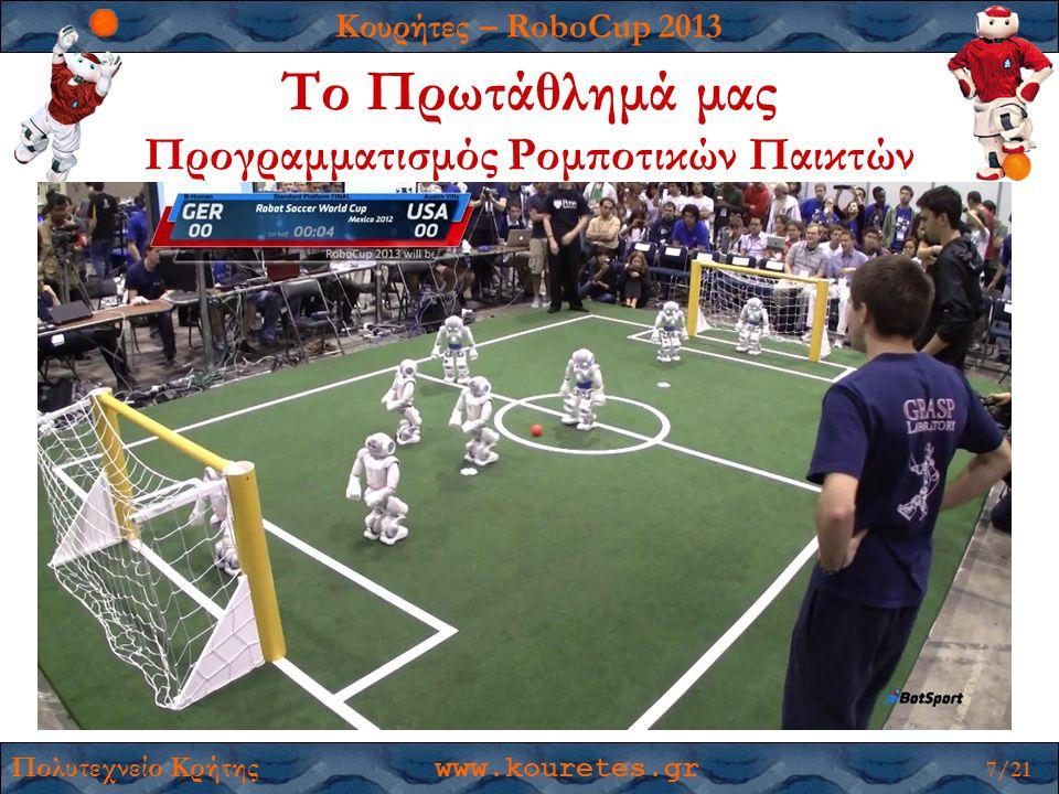 Κουρήτες – RoboCup 2013 Πολυτεχνείο Κρήτης www.kouretes.gr 7/21 Το Πρωτάθλημά μας Προγραμματισμός Ρομποτικών Παικτών