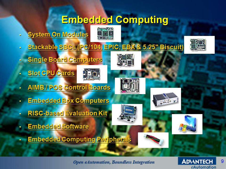 9 Embedded Computing • System On Modules System On Modules System On Modules • Stackable SBCs (PC/104, EPIC, EBX & 5.25