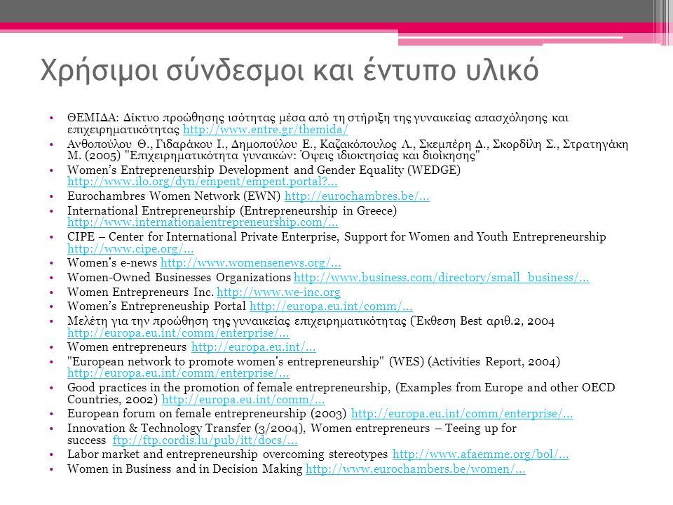 Χρήσιμοι σύνδεσμοι και έντυπο υλικό •ΘΕΜΙΔΑ: Δίκτυο προώθησης ισότητας μέσα από τη στήριξη της γυναικείας απασχόλησης και επιχειρηματικότητας http://www.entre.gr/themida/http://www.entre.gr/themida/ •Ανθοπούλου Θ., Γιδαράκου Ι., Δημοπούλου Ε., Καζακόπουλος Λ., Σκεμπέρη Δ., Σκορδίλη Σ., Στρατηγάκη Μ.