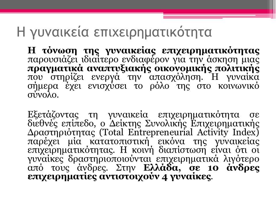 Η γυναικεία επιχειρηματικότητα Η τόνωση της γυναικείας επιχειρηματικότητας παρουσιάζει ιδιαίτερο ενδιαφέρον για την άσκηση μιας πραγματικά αναπτυξιακής οικονομικής πολιτικής που στηρίζει ενεργά την απασχόληση.