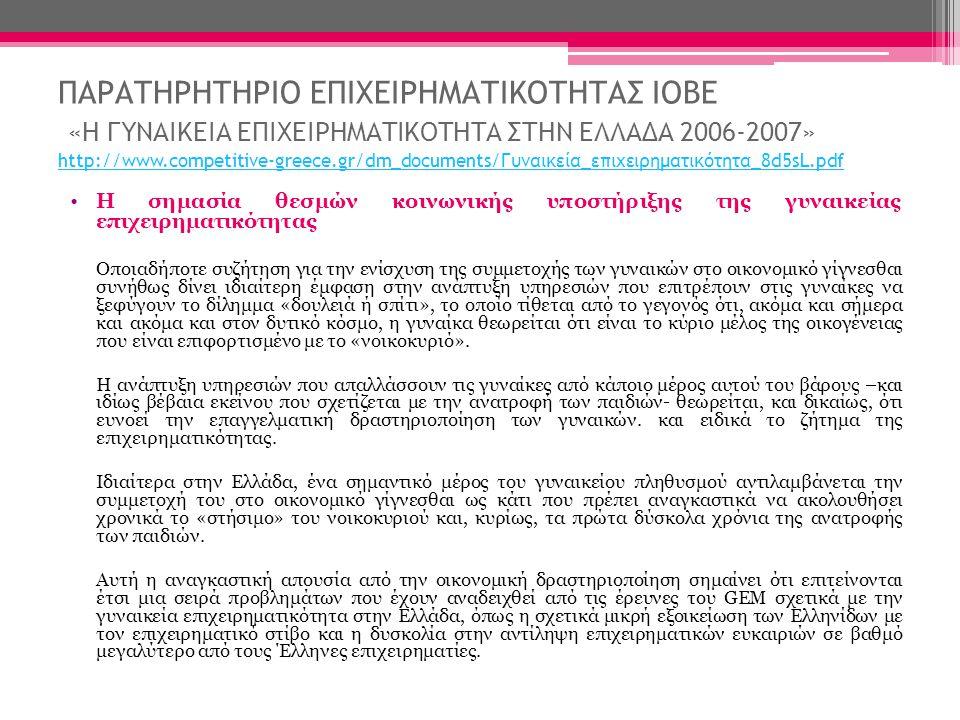 ΠΑΡΑΤΗΡΗΤΗΡΙΟ ΕΠΙΧΕΙΡΗΜΑΤΙΚΟΤΗΤΑΣ ΙΟΒΕ «Η ΓΥΝΑΙΚΕΙΑ ΕΠΙΧΕΙΡΗΜΑΤΙΚΟΤΗΤΑ ΣΤΗΝ ΕΛΛΑΔΑ 2006-2007» http://www.competitive-greece.gr/dm_documents/Γυναικεία_επιχειρηματικότητα_8d5sL.pdf http://www.competitive-greece.gr/dm_documents/Γυναικεία_επιχειρηματικότητα_8d5sL.pdf •Η σημασία θεσμών κοινωνικής υποστήριξης της γυναικείας επιχειρηματικότητας Οποιαδήποτε συζήτηση για την ενίσχυση της συμμετοχής των γυναικών στο οικονομικό γίγνεσθαι συνήθως δίνει ιδιαίτερη έμφαση στην ανάπτυξη υπηρεσιών που επιτρέπουν στις γυναίκες να ξεφύγουν το δίλημμα «δουλειά ή σπίτι», το οποίο τίθεται από το γεγονός ότι, ακόμα και σήμερα και ακόμα και στον δυτικό κόσμο, η γυναίκα θεωρείται ότι είναι το κύριο μέλος της οικογένειας που είναι επιφορτισμένο με το «νοικοκυριό».