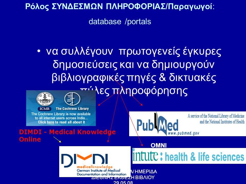 ΕΥΑΓΓΕΛΙΑ ΛΑΠΠΑ/ ΗΜΕΡΙΔΑ ΔΙΕΘΝΗΣ ΕΚΘΕΣΗ ΒΙΒΛΙΟΥ 29.05.08 Παραδείγματα ΣΥΝΕΡΓΑΤΙΚΩΝ ΔΡΑΣΕΩΝ •Τεκμηρίωσης αποτελούν η Ιατρική βιβλιοθήκη και το κέντρο Βιοτεχνολογίας NCBI των Η.Π.Α., το Γερμανικό κέντρο Τεκμηρίωσης Βιοϊατρικής επιστήμης (DIMDI), το κέντρο συστηματικών αναθεωρήσεων του ομίλου Cοchrane Collaboration •Ιδιαίτερα δημοφιλής αποτελεί: • Εθνική Ιατρική Βιβλιοθήκη των ΗΠΑ • Ομάδα του Πανεπιστημίου McMaster