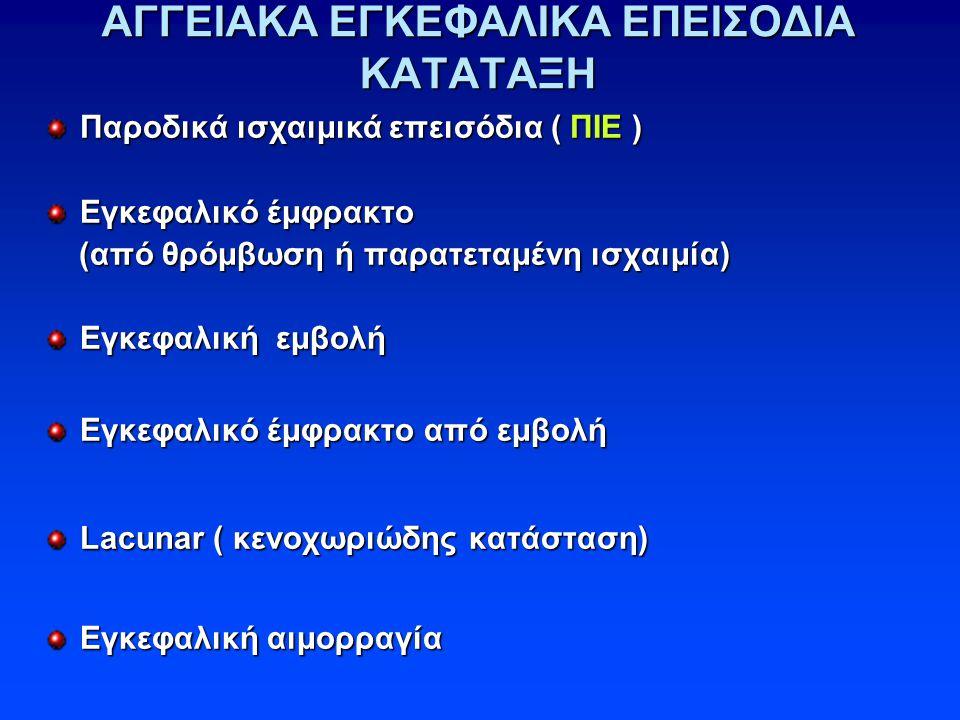 ΑΓΓΕΙΑΚΑ ΕΓΚΕΦΑΛΙΚΑ ΕΠΕΙΣΟΔΙΑ ΚΑΤΑΤΑΞΗ Παροδικά ισχαιμικά επεισόδια ( ΠΙΕ ) Εγκεφαλικό έμφρακτο (από θρόμβωση ή παρατεταμένη ισχαιμία) (από θρόμβωση ή παρατεταμένη ισχαιμία) Εγκεφαλική εμβολή Εγκεφαλικό έμφρακτο από εμβολή Lacunar ( κενοχωριώδης κατάσταση) Εγκεφαλική αιμορραγία