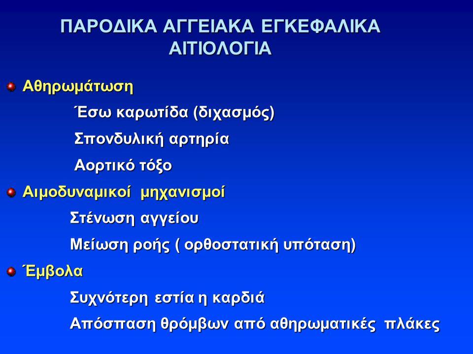 ΠΑΡΟΔΙΚΑ ΑΓΓΕΙΑΚΑ ΕΓΚΕΦΑΛΙΚΑ ΑΙΤΙΟΛΟΓΙΑ Αθηρωμάτωση Έσω καρωτίδα (διχασμός) Έσω καρωτίδα (διχασμός) Σπονδυλική αρτηρία Σπονδυλική αρτηρία Αορτικό τόξο Αορτικό τόξο Αιμοδυναμικοί μηχανισμοί Στένωση αγγείου Στένωση αγγείου Μείωση ροής ( ορθοστατική υπόταση) Μείωση ροής ( ορθοστατική υπόταση)Έμβολα Συχνότερη εστία η καρδιά Συχνότερη εστία η καρδιά Απόσπαση θρόμβων από αθηρωματικές πλάκες Απόσπαση θρόμβων από αθηρωματικές πλάκες