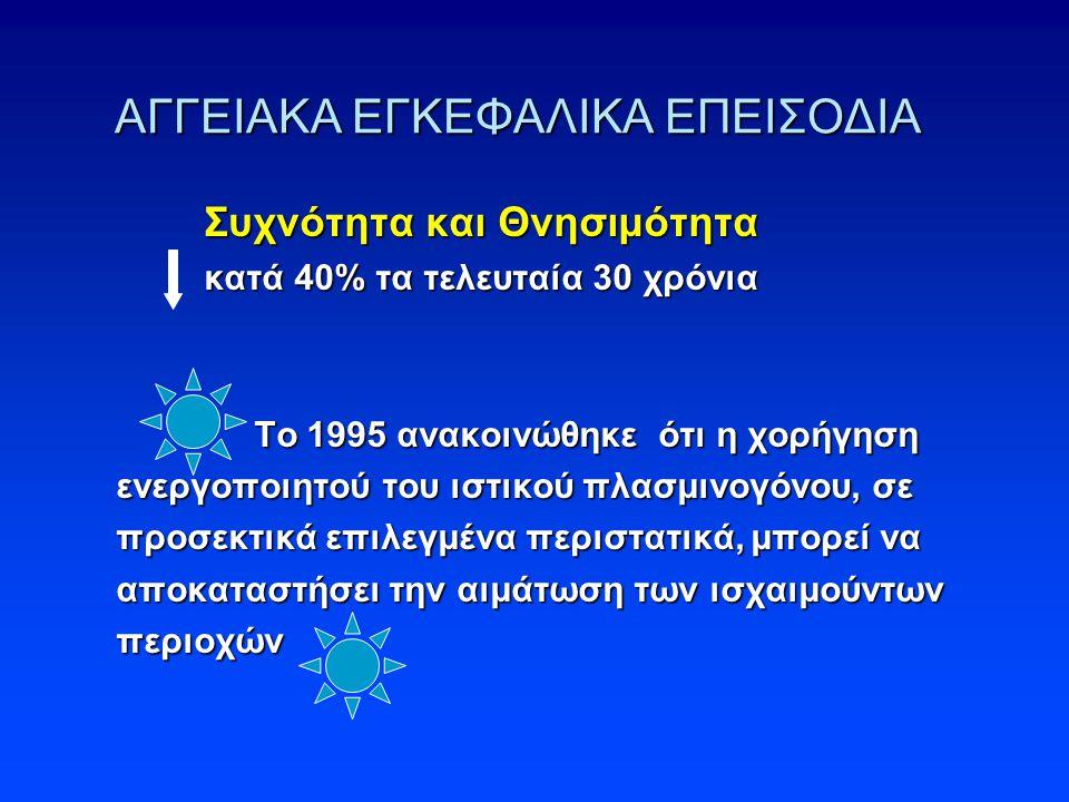 ΑΓΓΕΙΑΚΑ ΕΓΚΕΦΑΛΙΚΑ ΕΠΕΙΣΟΔΙΑ Συχνότητα και Θνησιμότητα Συχνότητα και Θνησιμότητα κατά 40% τα τελευταία 30 χρόνια κατά 40% τα τελευταία 30 χρόνια Το 1995 ανακοινώθηκε ότι η χορήγηση ενεργοποιητού του ιστικού πλασμινογόνου, σε προσεκτικά επιλεγμένα περιστατικά, μπορεί να αποκαταστήσει την αιμάτωση των ισχαιμούντων περιοχών Το 1995 ανακοινώθηκε ότι η χορήγηση ενεργοποιητού του ιστικού πλασμινογόνου, σε προσεκτικά επιλεγμένα περιστατικά, μπορεί να αποκαταστήσει την αιμάτωση των ισχαιμούντων περιοχών