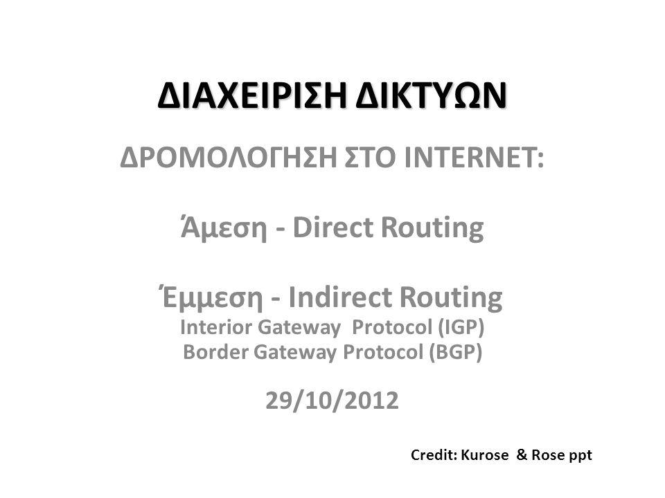 BGP - βασικά • pairs of routers (BGP peers) ανταλλάσουν πληροφορίες δρομολόγησης (routing info) πάνω από ημι-σταθερές συνδέσεις TCP: BGP sessions – BGP sessions δεν χρειάζεται να αντιστοιχίζονται σε φυσικές συνδέσεις links.