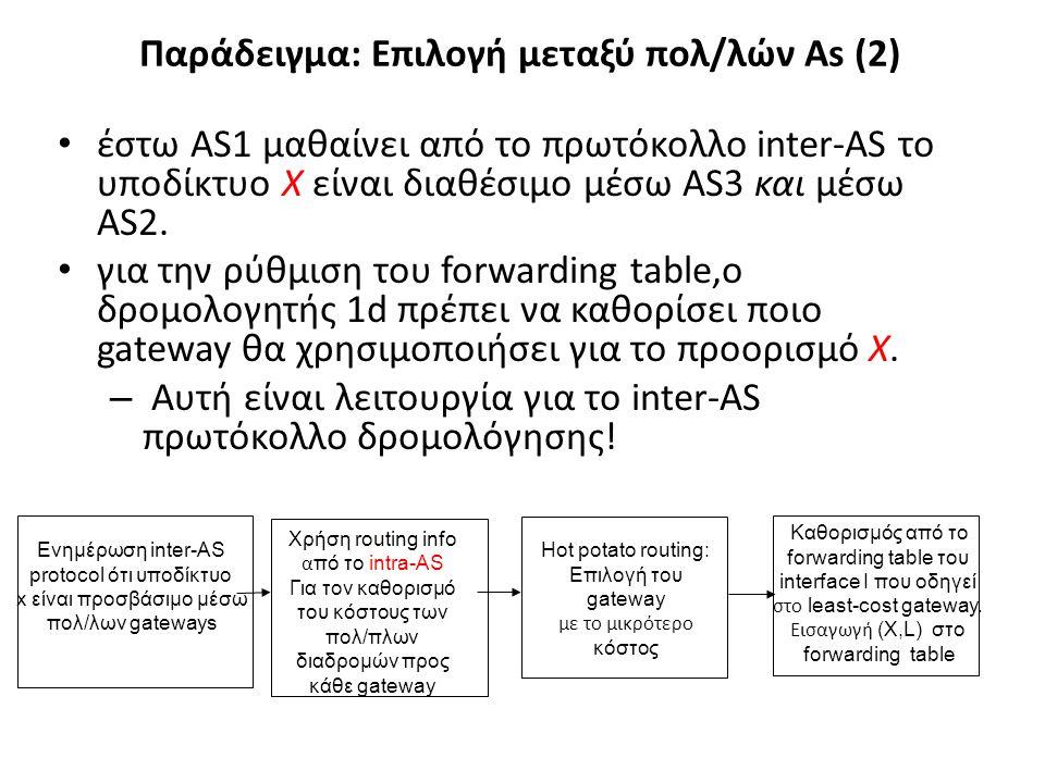 Παράδειγμα: Επιλογή μεταξύ πολ/λών As (2) • έστω AS1 μαθαίνει από το πρωτόκολλο inter-AS το υποδίκτυο X είναι διαθέσιμο μέσω AS3 και μέσω AS2. • για τ