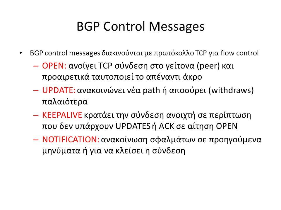 BGP Control Messages • BGP control messages διακινούνται με πρωτόκολλο TCP για flow control – OPEN: ανοίγει TCP σύνδεση στο γείτονα (peer) και προαιρε