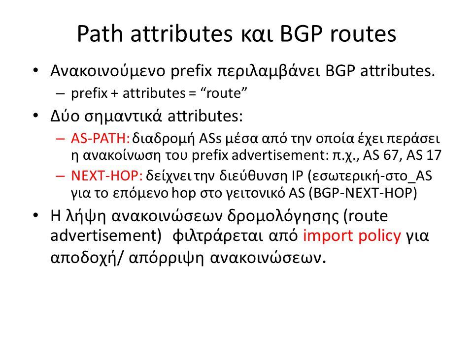 "Path attributes και BGP routes • Ανακοινούμενο prefix περιλαμβάνει BGP attributes. – prefix + attributes = ""route"" • Δύο σημαντικά attributes: – AS-PA"