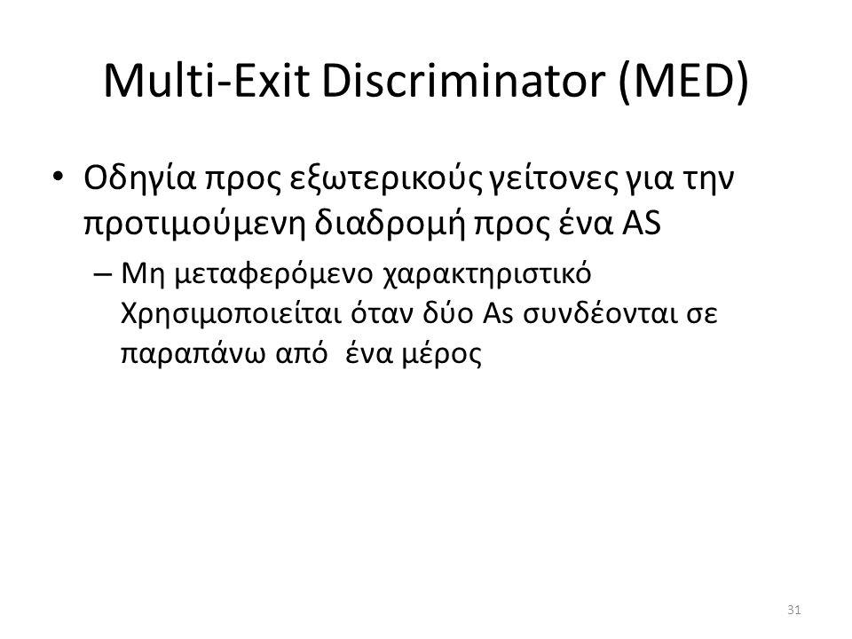 31 Multi-Exit Discriminator (MED) • Οδηγία προς εξωτερικούς γείτονες για την προτιμούμενη διαδρομή προς ένα AS – Μη μεταφερόμενο χαρακτηριστικό Χρησιμ