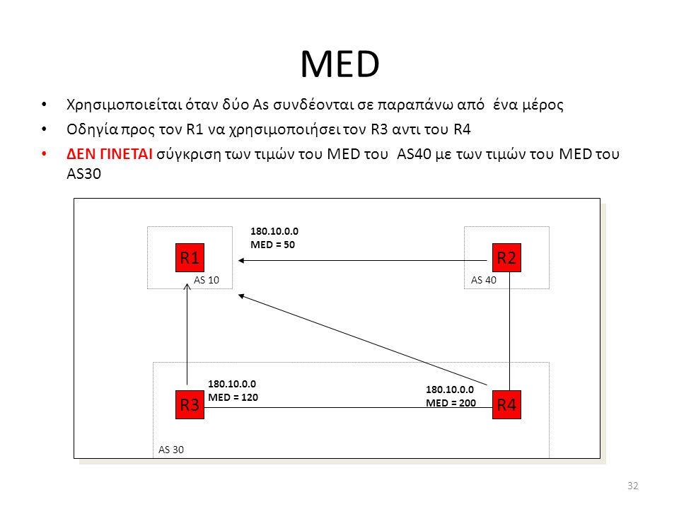 32 MED • Χρησιμοποιείται όταν δύο As συνδέονται σε παραπάνω από ένα μέρος • Οδηγία προς τον R1 να χρησιμοποιήσει τον R3 αντι του R4 • ΔΕΝ ΓΙΝΕΤΑΙ σύγκ