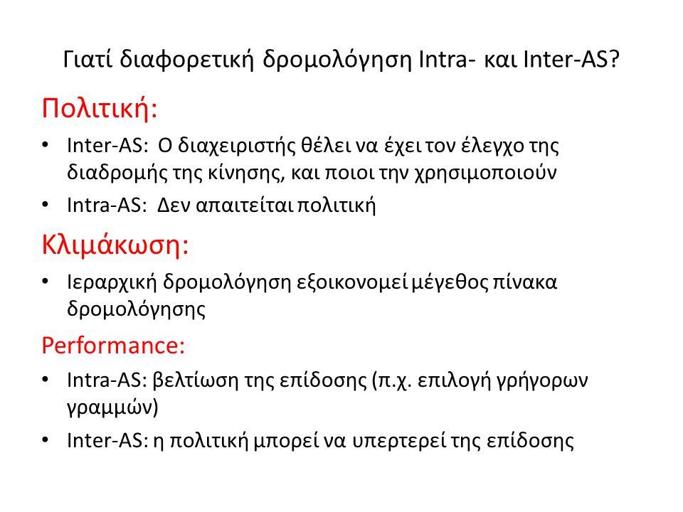 Γιατί διαφορετική δρομολόγηση Intra- και Inter-AS? Πολιτική: • Inter-AS: Ο διαχειριστής θέλει να έχει τον έλεγχο της διαδρομής της κίνησης, και ποιοι