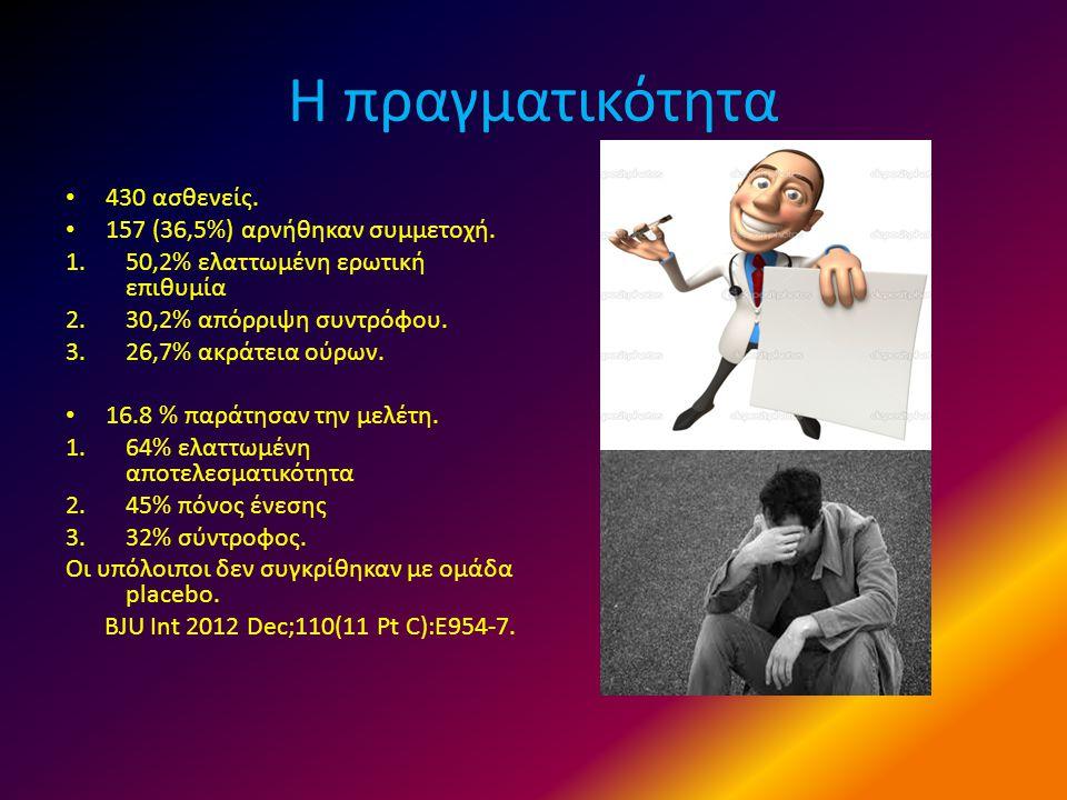 Η πραγματικότητα • 430 ασθενείς. • 157 (36,5%) αρνήθηκαν συμμετοχή. 1.50,2% ελαττωμένη ερωτική επιθυμία 2.30,2% απόρριψη συντρόφου. 3.26,7% ακράτεια ο