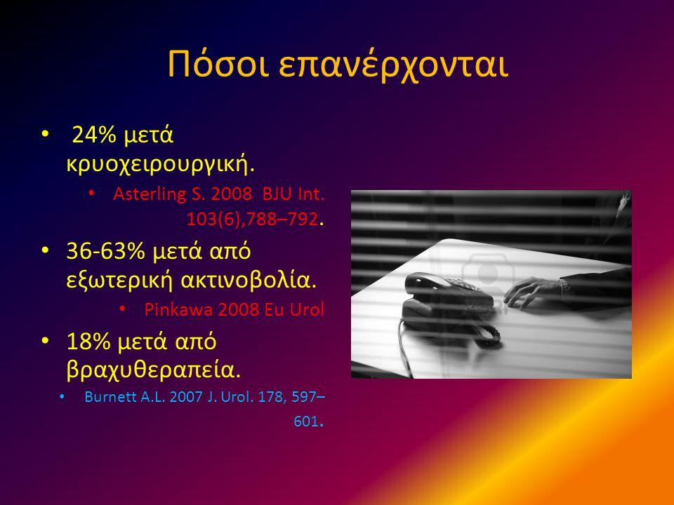 Πόσοι επανέρχονται • 24% μετά κρυοχειρουργική. • Asterling S. 2008 BJU Int. 103(6),788–792. • 36-63% μετά από εξωτερική ακτινοβολία. • Pinkawa 2008 Eu