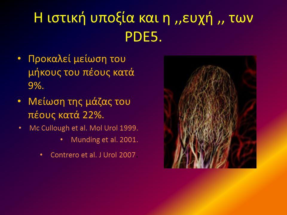 Η ιστική υποξία και η,,ευχή,, των PDE5. • Προκαλεί μείωση του μήκους του πέους κατά 9%. • Μείωση της μάζας του πέους κατά 22%. • Mc Cullough et al. Mo