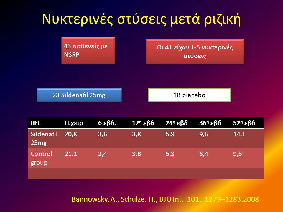 Νυκτερινές στύσεις μετά ριζική 23 Sildenafil 25mg 18 placebo 43 ασθενείς με NSRP Οι 41 είχαν 1-5 νυκτερινές στύσεις IIEFΠ.χειρ6 εβδ.12 η εβδ24 η εβδ36