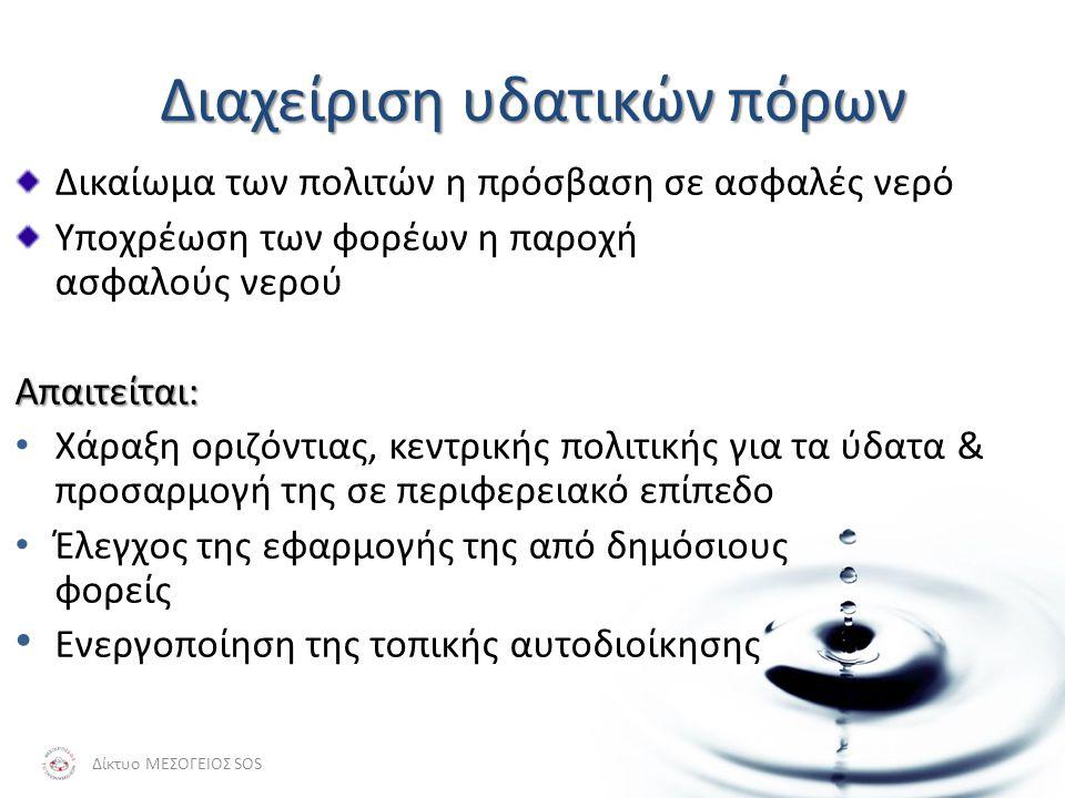 Αστική Χρήση του Νερού Ζητήματα Ποσότητας: • Μεταφορά από μεγάλες αποστάσεις • Μεγάλο κόστος - οικονομικό & περιβαλλοντικό Ζητήματα Ποιότητας: • Μεγάλη ζήτηση συνεπάγεται συχνά υποβάθμιση της ποιότητας • Επίδραση παραγόντων που δεν σχετίζονται με την ύδρευση (ρύπανση) Δίκτυο ΜΕΣΟΓΕΙΟΣ SOS