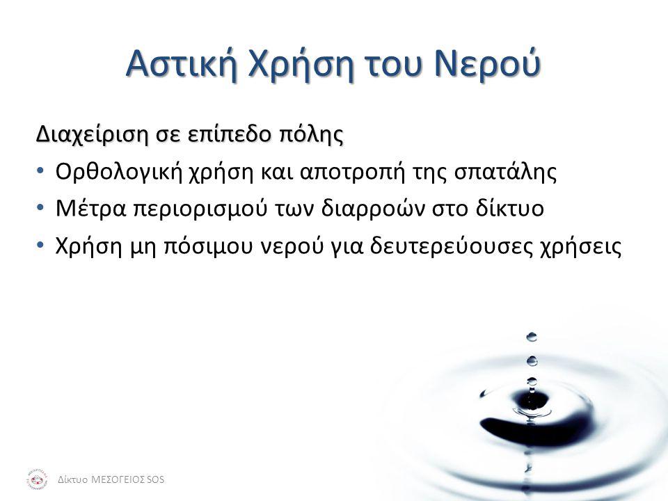 Αστική Χρήση του Νερού Διαχείριση σε επίπεδο πόλης • Ορθολογική χρήση και αποτροπή της σπατάλης • Μέτρα περιορισμού των διαρροών στο δίκτυο • Χρήση μη πόσιμου νερού για δευτερεύουσες χρήσεις Δίκτυο ΜΕΣΟΓΕΙΟΣ SOS