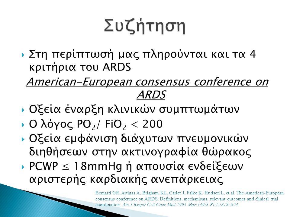  Στη περίπτωσή μας πληρούνται και τα 4 κριτήρια του ARDS American-European consensus conference on ARDS  Οξεία έναρξη κλινικών συμπτωμάτων  Ο λόγος PO 2 / FiO 2 < 200  Οξεία εμφάνιση διάχυτων πνευμονικών διηθήσεων στην ακτινογραφία θώρακος  PCWP ≤ 18mmHg ή απουσία ενδείξεων αριστερής καρδιακής ανεπάρκειας Bernard GR, Artigas A, Brigham KL, Carlet J, Falke K, Hudson L, et al.