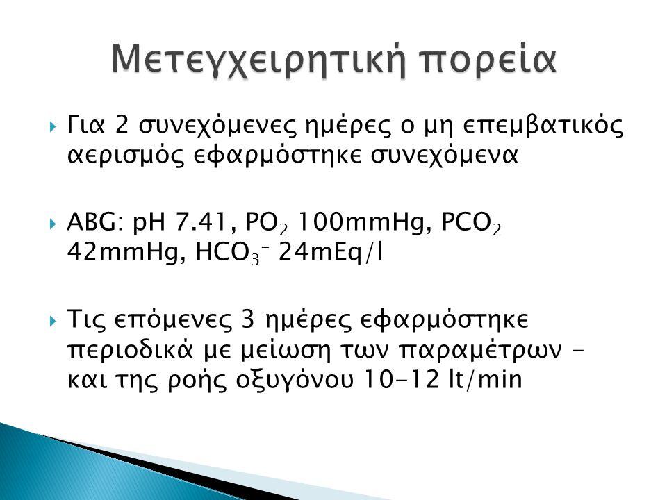  Για 2 συνεχόμενες ημέρες ο μη επεμβατικός αερισμός εφαρμόστηκε συνεχόμενα  ABG: pH 7.41, PO 2 100mmHg, PCO 2 42mmHg, HCO 3 - 24mEq/l  Τις επόμενες 3 ημέρες εφαρμόστηκε περιοδικά με μείωση των παραμέτρων - και της ροής οξυγόνου 10-12 lt/min