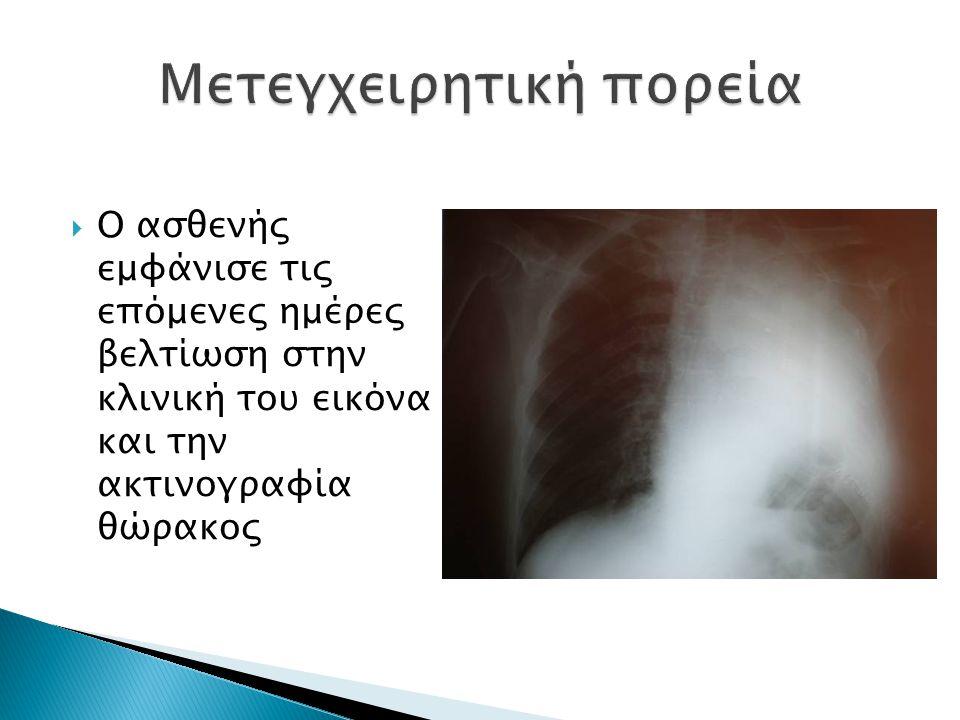  Ο ασθενής εμφάνισε τις επόμενες ημέρες βελτίωση στην κλινική του εικόνα και την ακτινογραφία θώρακος