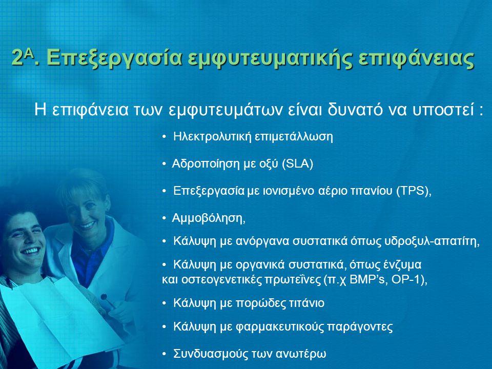 2 Α. Επεξεργασία εμφυτευματικής επιφάνειας 2 Α. Επεξεργασία εμφυτευματικής επιφάνειας Η επιφάνεια των εμφυτευμάτων είναι δυνατό να υποστεί : • Ηλεκτρο