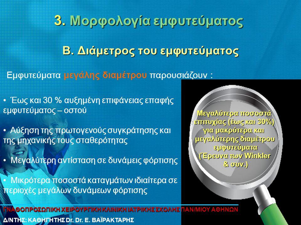 3. Μορφολογία εμφυτεύματος Β. Διάμετρος του εμφυτεύματος • Έως και 30 % αυξημένη επιφάνειας επαφής εμφυτεύματος – οστού • Αύξηση της πρωτογενούς συγκρ